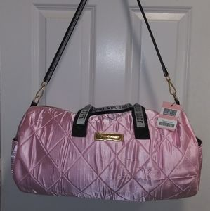 """Quilted Satin Pink Duffel bag 19""""."""